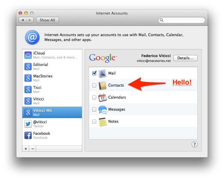 how to change mac contact details